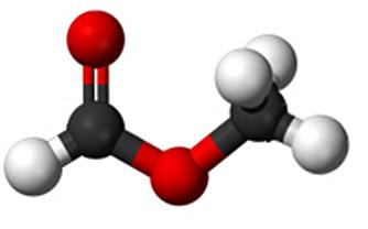 Modelo da molécula do metanoato de metila (nomenclatura oficial) ou formiato de metila (nomenclatura usual)