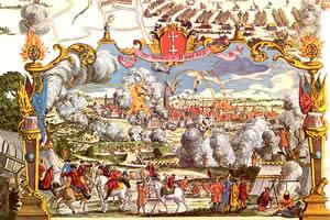 O Cerco de Danzig, um dos pontos altos da Guerra de Sucessão da Polônia.