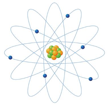 Modelo de átomo no qual os elétrons giram em torno do núcleo maciço e positivo