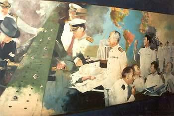 Painel da Marinha do Brasil com Vargas e o Almirantado durante a II Guerra Mundial. A guerra foi motivo para a formação do Território de Ponta Porã.*