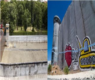 À esquerda, trecho do Muro de Berlim conservado; à direita, trecho do Muro de Israel em funcionamento