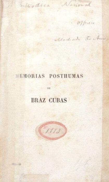 """Exemplar do livro """"Memórias póstumas de Brás Cubas"""" dedicado à Biblioteca Nacional pelo próprio Machado de Assis."""