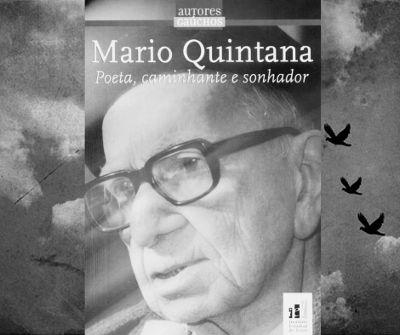 Capa do livro Mario Quintana – Poeta, caminhante e sonhador. Instituto Estadual do Livro, Rio Grande do Sul