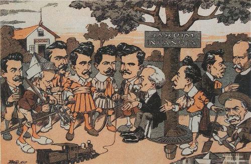 Caricatura de alguns políticos da época da República Oligárquica