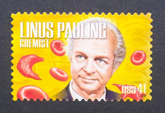 Caricatura do renomado químico Linus Pauling*