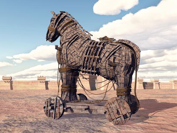 Cavalo de Troia. A cena retratada refere-se ao episódio final da Guerra de Troia