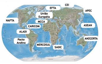 Mapa destacando os principais blocos econômicos do planeta
