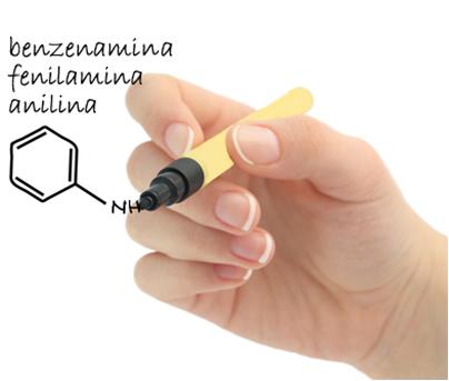 A nomenclatura oficial dessa amina aromática é benzenamina e a usual é fenilamina, mas ela é mais conhecida como anilina