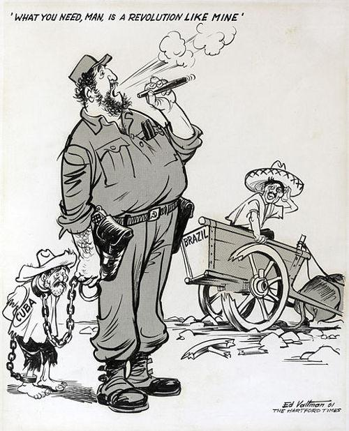 Charge de E. S. Valtman, de 1961, satirizando o espelhamento da esquerda brasileira no exemplo de Fidel Castro