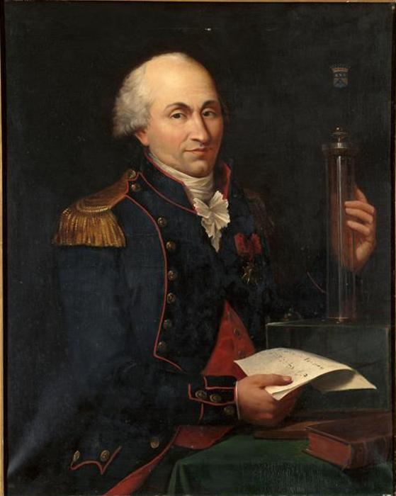 Na pintura acima, temos Charles de Coulomb e sua famosa balança de torção