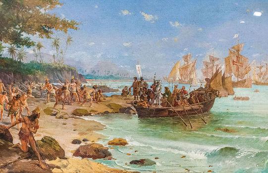 Quadro de Oscar Pereira da Silva que retrata Pedro Álvares Cabral desembarcando no Brasil em 1500.*
