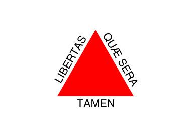 """Bandeira de Minas Gerais, com o significado: """"Liberdade, ainda que tardia"""""""