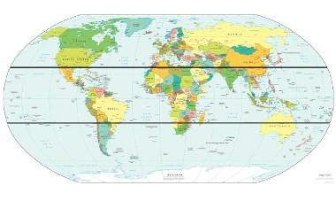 Mapa de localização dos trópicos da Terra