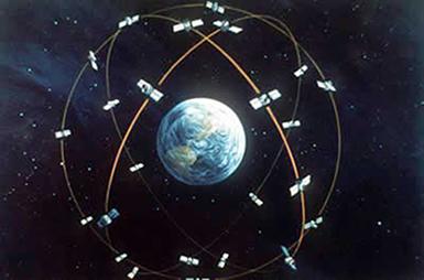 Concepção artística do posicionamento de satélites em órbita da Terra
