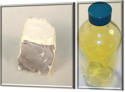 Por meio da eletrólise ígnea do cloreto de sódio são formados sódio metálico e gás cloro, mostrados na figura respectivamente