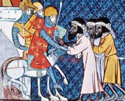 O encontro entre combatentes da Primeira Cruzada e os fugitivos da Cruzada dos Mendigos.