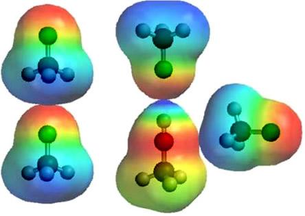 Força intermolecular dipolo permanente entre moléculas de cloro-metano e interação dessa molécula com a molécula de metanol