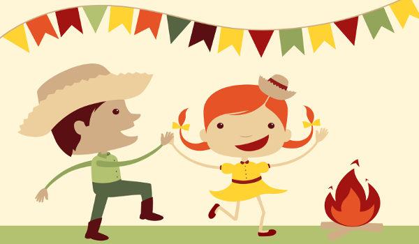 Danças, bandeirolas e fogueira são alguns dos elementos típicos de festa junina