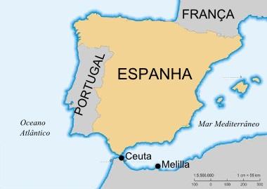 Mapa da Espanha com ênfase nas cidades autônomas de Ceuta e Melilla