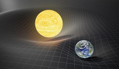 De acordo com a Relatividade Geral, grandes massas alteram a curvatura do espaço, produzindo a gravidade