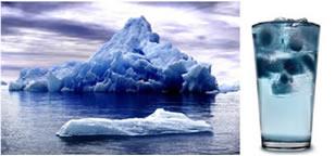 A massa e o volume do gelo são propriedades extenivas, já sua densidade é intensiva, pois independentemente da quantidade de gelo, ele flutua na água