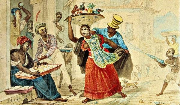 Desenho de Jean Baptiste-Debret (1768-1848) mostrando a brincadeira do entrudo entre os escravos