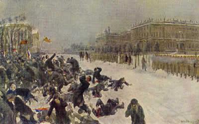 No dia 9 de janeiro de 1905, manifestantes russos foram assassinados em São Petersburgo, originando o dia que ficou conhecido como o domingo sangrento