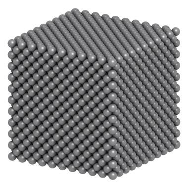 Representação da estrutura de um cristal de prata