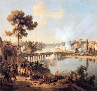 Tela Napoleão na Batalha de Lodi, 10 de maio de 1796, produzida pelo soldado-pintor Louis-François, ou Barão Lejeune (1775-1848)