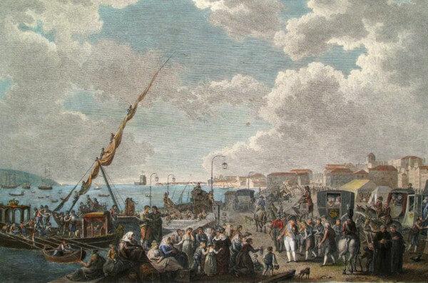 Embarque da família real portuguesa no cais de Belém, em 29 de novembro de 1807.