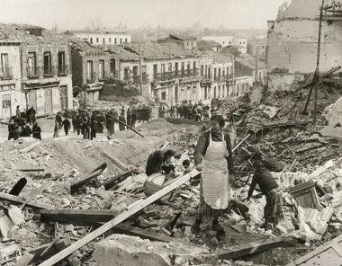 Escombros de um bairro de Madrid durante a Guerra Civil Espanhola