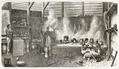 Escravos trabalhando na cozinha de uma Casa Grande no Suriname