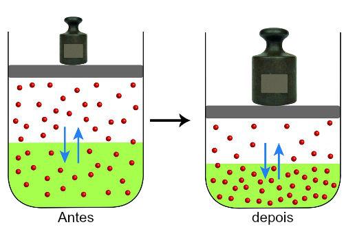 Esquema mostrando pressão sendo exercida em um sistema em equilíbrio