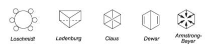 Propostas para a estrutura do benzeno