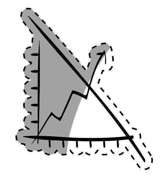 Exemplo de um gráfico construído com um quarto do plano cartesiano e uma reta decrescente