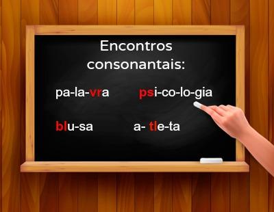 Exemplos de encontros consonantais