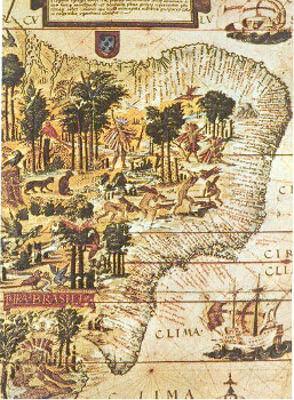 Mapa produzido no século XVI, retratando a exploração do pau-brasil realizada pelos indígenas.*