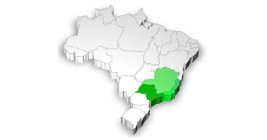 Mapa de localização da Região Sudeste