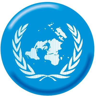 Logomarca da ONU — uma projeção polar que não coloca nenhum país no centro do mapa