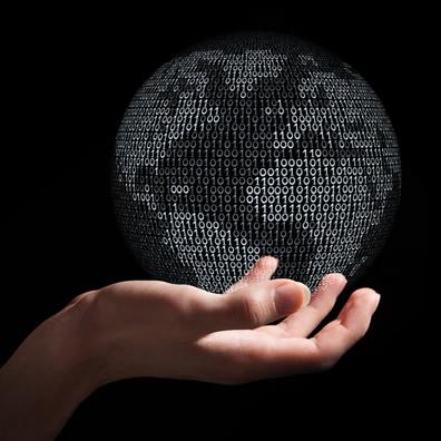 Planeta Terra formado a partir do código binário,  símbolo da era digital, comunicação e globalização