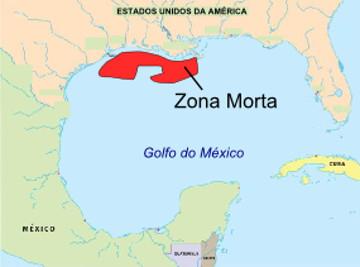 Mapa de Localização da Zona Morta do Golfo do México
