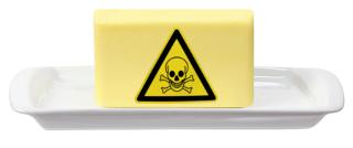 Manteiga deixada muito tempo fora da geladeira é um perigo!