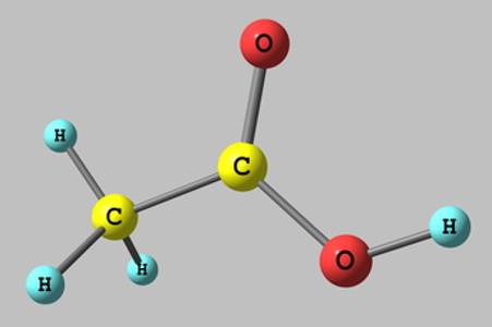 O ácido acético, mais conhecido como vinagre, apresenta um hidrogênio ionizável