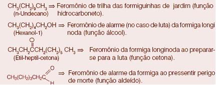 Exemplos de feromônios das formigas