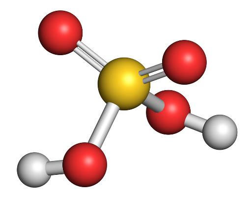 A fórmula estrutural do ácido sulfúrico é tetraédrica.
