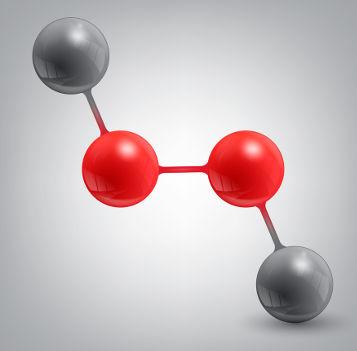 Fórmula química da substância molecular peróxido de hidrogênio (água oxigenada)