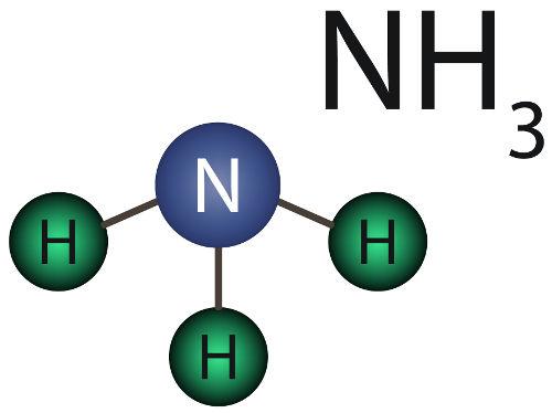Fórmulas da substância amônia, formada por ligações covalentes