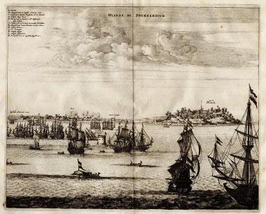 Frota de navios holandeses durante o cerco de Olinda, em 1630 *