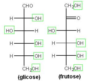 Estruturas da glicose e da frutose, com grupos hidroxila em destaque
