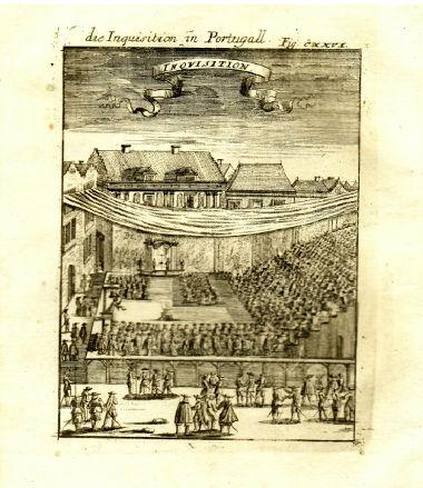 Gravura que retrata um julgamento da Inquisição portuguesa